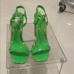 New Liliana lime green and gold sandals